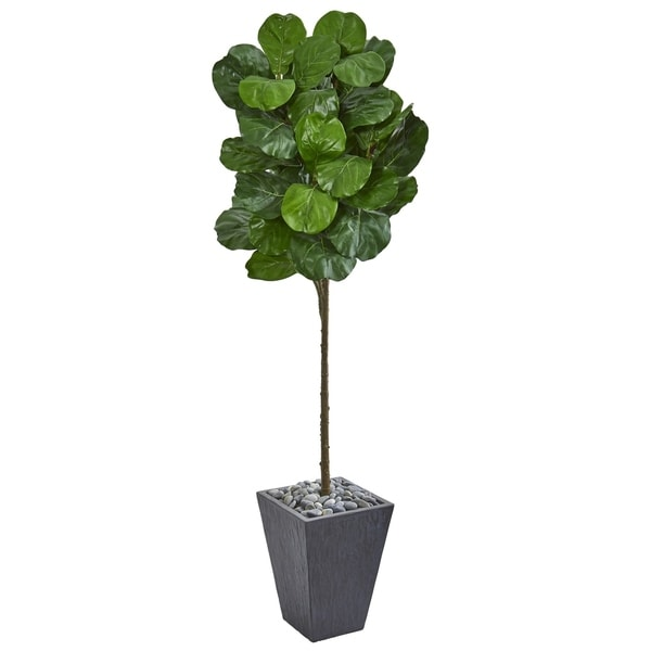 Nearly Natural Fiddle Leaf 6-foot Artificial Tree in Slate Finished Planter. Opens flyout.