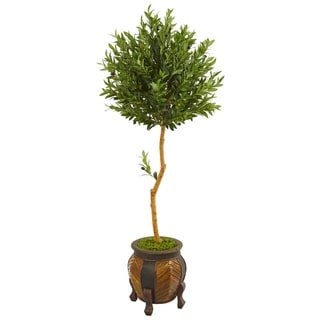 Nearly Natural Green/Brown 5.5-foot Artificial Olive Topiary Tree in Decorative Planter