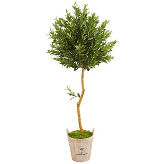 Nearly Natural Olive Topiary 63-inch Artificial Tree in Farmhouse Planter