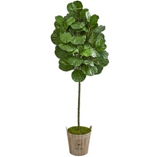 Nearly Natural 6.5-foot Fiddle Leaf Artificial Tree in Farmhouse Planter