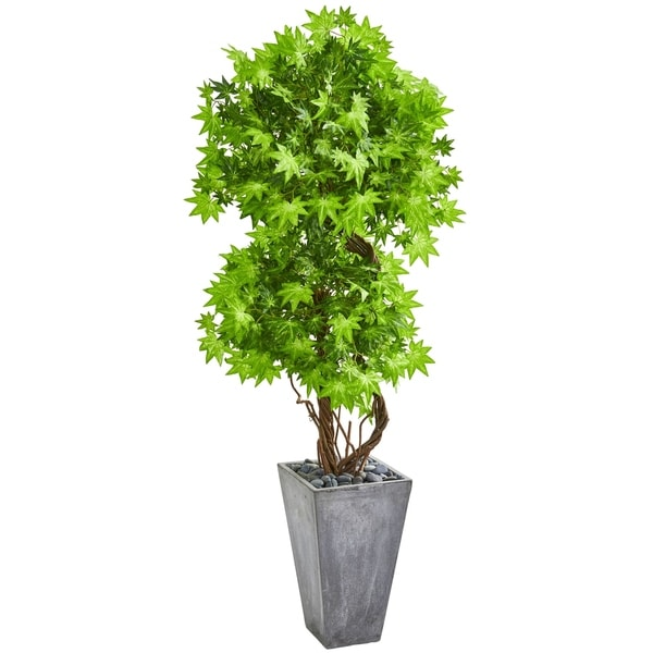 "74"" Maple Artificial Tree in Cement Planter"