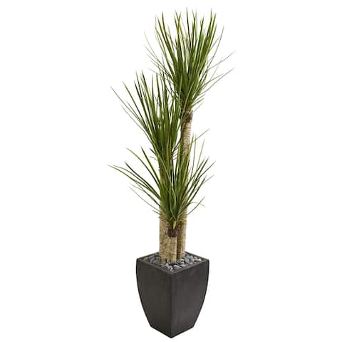 Nearly Natural 63-inch Yucca Artificial Tree in Black Planter