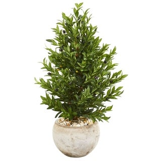 Link to Nearly Natural 3-foot Olive Cone Topiary UV-resistant Indoor/Outdoor Artificial Tree in Sand Stone Planter Similar Items in Decorative Accessories