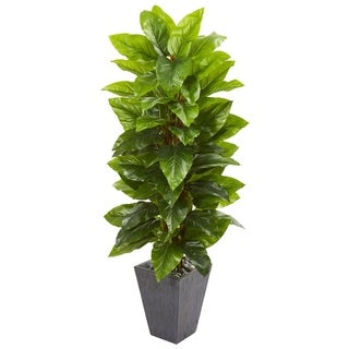 Nearly Natural Real Touch 5-foot Large Leaf Philodendron Artificial Plant in Slate Planter