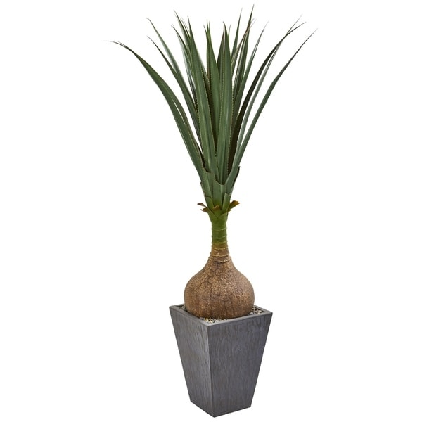Nearly Natural Yucca with Slate Planter Artificial Plant