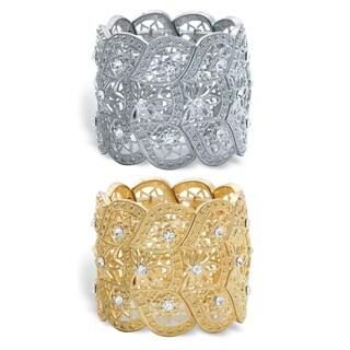 """2-Piece Set Gold Tone and Silvertone Crystal Stretch Bracelets 7"""""""