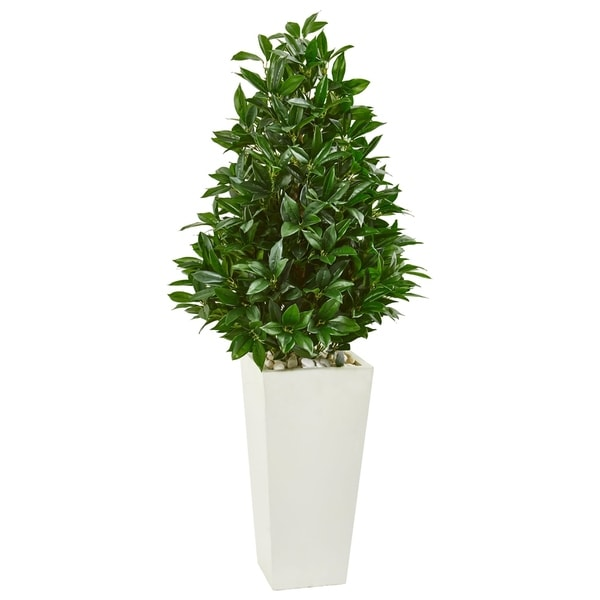 Nearly Natural Green Bay Leaf with White Tower Planter UV-resistant Indoor/Outdoor Artificial Cone Topiary