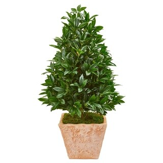 Link to Nearly Natural Bay Leaf Cone-shaped Topiary 39-inches High Indoor/Outdoor Artificial Tree in UV-resistant Terra Cotta Planter Similar Items in Decorative Accessories