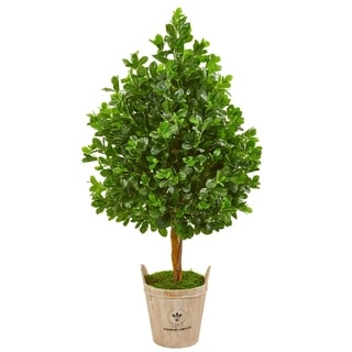 Nearly Natural Evergreen 57-inch Artificial Tree in Farmhouse Planter