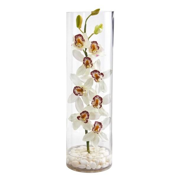 Cymbidium Orchid Artificial Arrangement in Tall Cylinder Vase