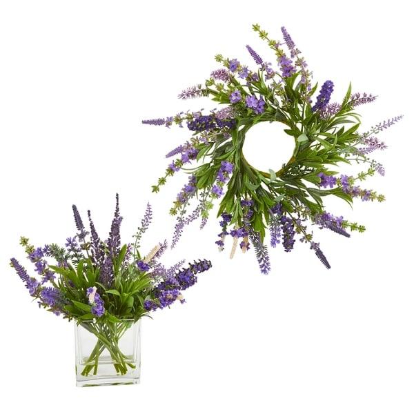 "12'' Lavender Arrangement and 14"" Lavender Wreath (Set of 2)"