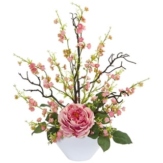 Rose & Cherry Blossom Artificial Arrangement