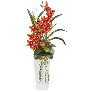 Nearly Natural Cymbidium Orchid and Succulent Artificial Arrangement