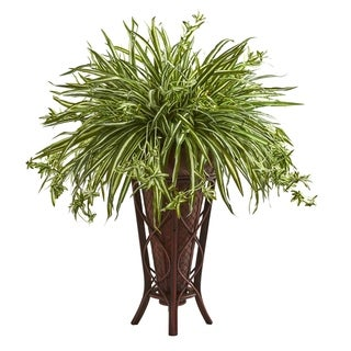 Nearly Natural Green/White Spider Artificial Plant in Decorative Stand Planter