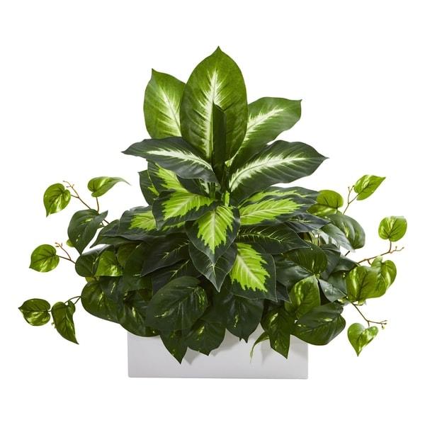 Golden Dieffenbachia & Pothos Artificial Plant