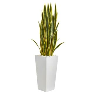 Nearly Natural 4-foot Sansevieria Artificial Plant in White Tower Planter