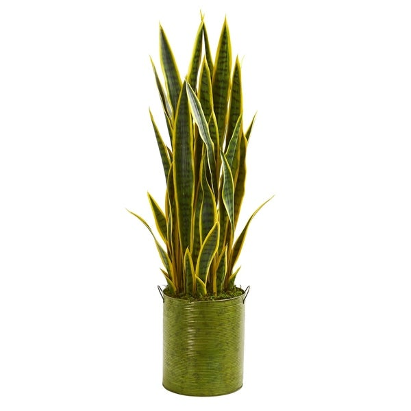Nearly Natural Sansevieria 3-foot Artificial Plant in Green Metal Planter