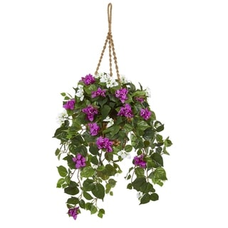 """30"""" Mixed Bougainvillea Artificial Plant Hanging Basket"""
