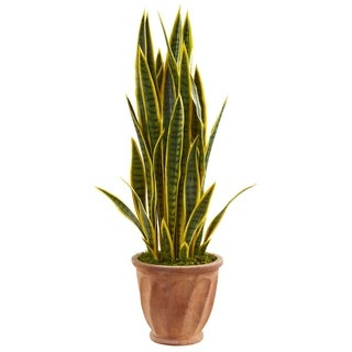 Nearly Natural 3-foot Sansevieria Artificial Plant in Terra Cotta Planter
