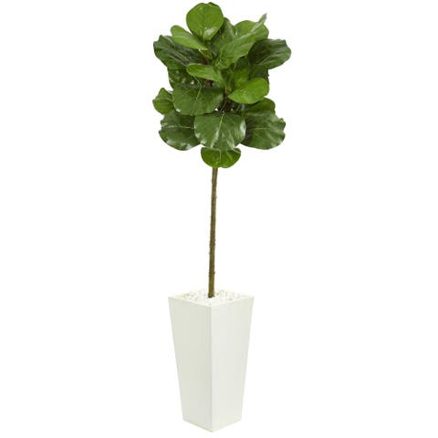 Nearly Natural 5.5-foot Fiddle Leaf Artificial Tree in White Tower Planter