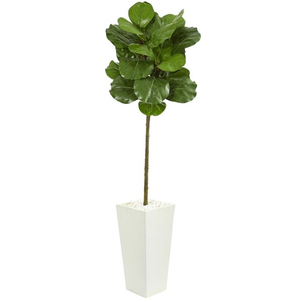 Nearly Natural 5.5-foot Fiddle Leaf Artificial Tree in White Tower Planter. Opens flyout.
