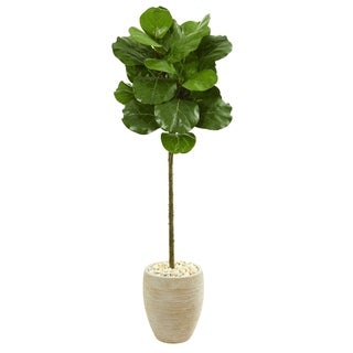Nearly Natural 5-foot Fiddle Leaf Artificial Tree in Sand Colored Planter