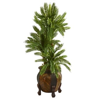 Nearly Natural 4-foot Triple Cycas Artificial Plant in Decorative Planter