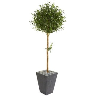 Nearly Natural Olive Topiary 5.5-foot Artificial Tree in Slate Planter