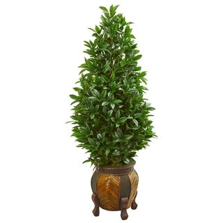 Nearly Natural 56-inch Bay Leaf Cone Topiary Artificial Tree in Decorative Planter