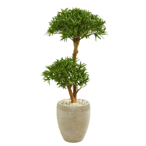 Nearly Natural Bonsai Styled Green/Brown/Beige Podocarpus Artificial Tree in Decorative Planter