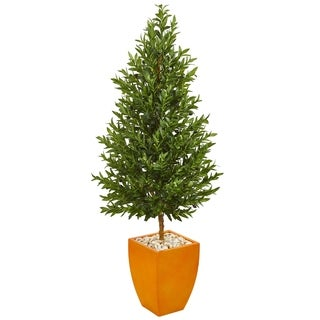 Nearly Natural Olive Cone Topiary 5.5-foot UV Resistant Indoor/Outdoor Artificial Tree in Orange Planter