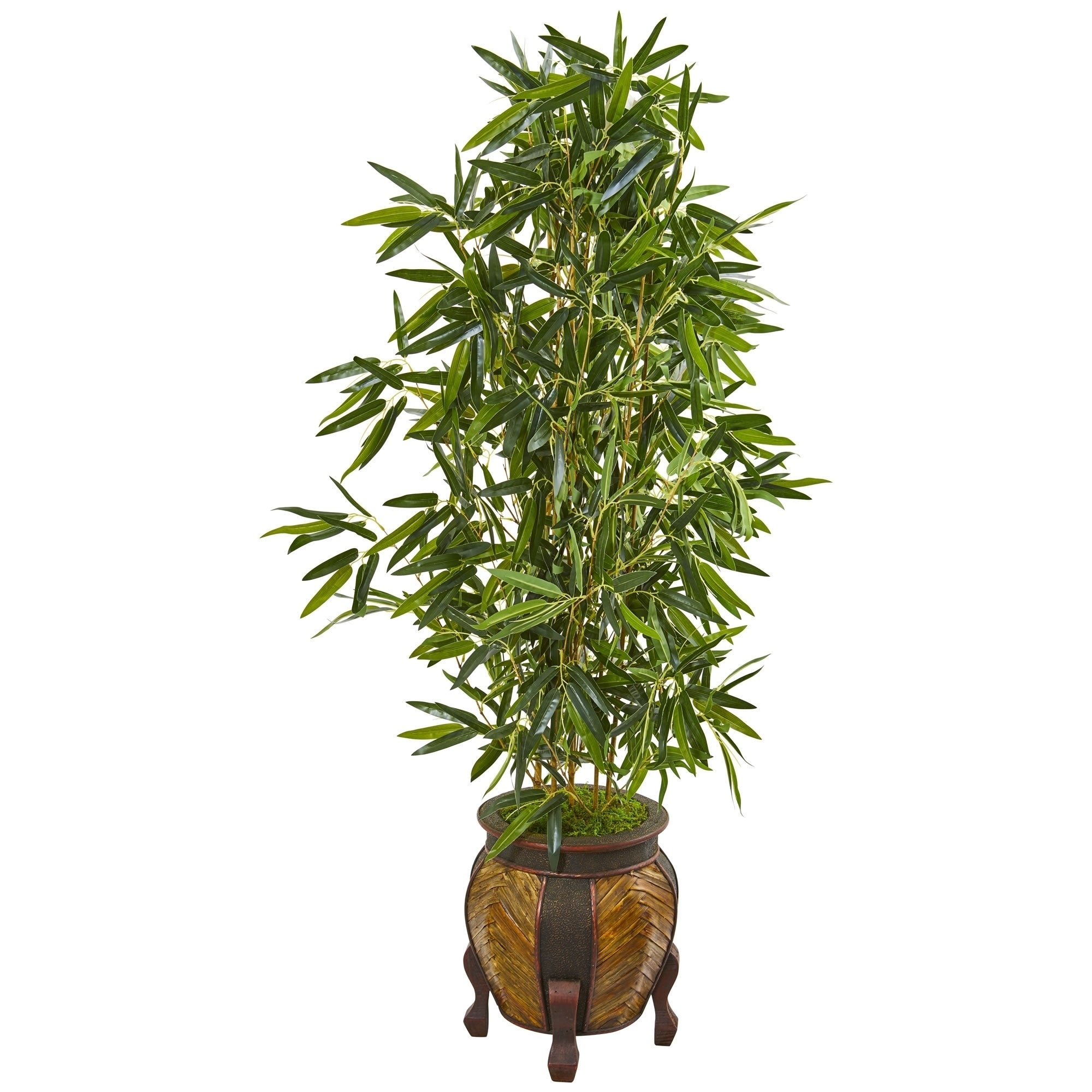 Nearly Natural Bamboo 5 Foot Real Touch Artificial Tree In Decorative Planter Overstock 23500770