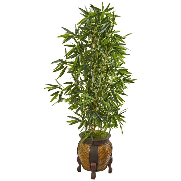 Nearly Natural Bamboo 5-foot Real Touch Artificial Tree in Decorative Planter