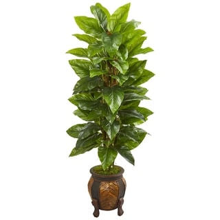 Nearly Natural Real Touch Green Large Leaf Philodendron with Decorative Planter Artificial Plant