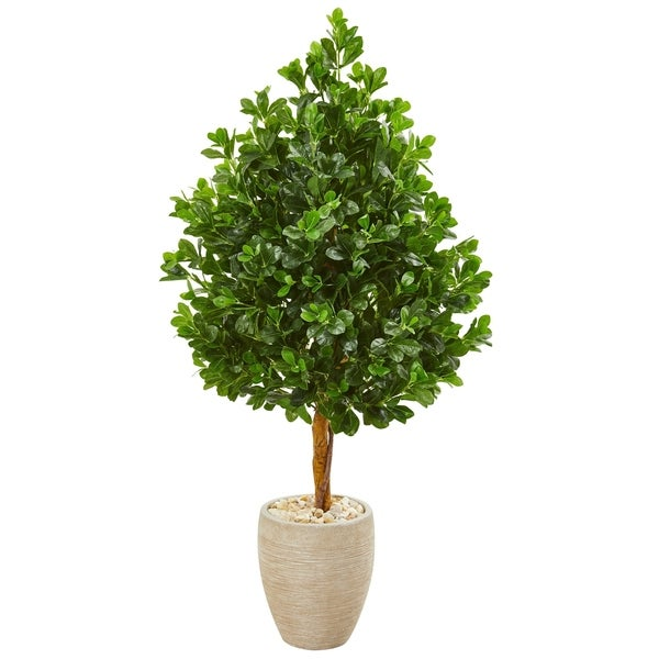 Nearly Natural 59-inch Evergreen Artificial Tree in Sand Finished Planter
