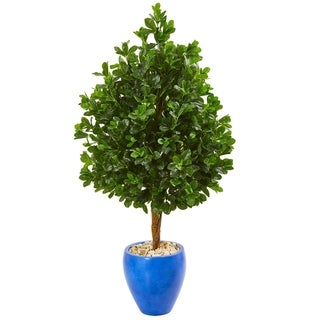 Nearly Natural 57-inch Evergreen Artificial Tree in Blue Planter