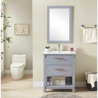 "30"" Single Sink Bathroom Vanity In Grey Finish With Ceramic Top-NO FAUCET"