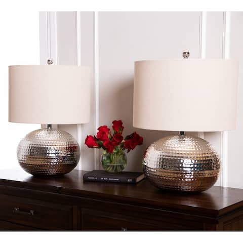 Hammered Silver Finish 20-inch Table Lamp (Set of 2) By Abbyson