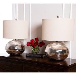 Abbyson Hammered Silver Finish 20-inch Table Lamp (Set of 2)