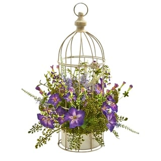 Morning Glory Artificial Arrangement in Decorative Bird Cage