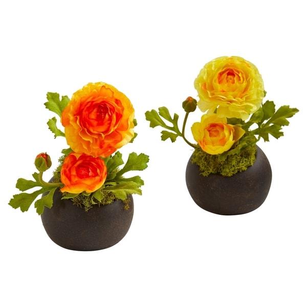Ranunculus Artificial Arrangement (Set of 2)