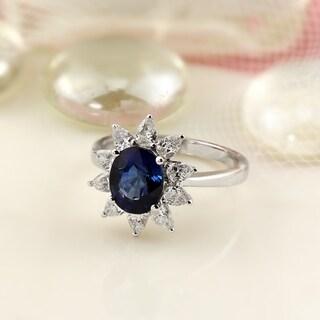 18K Gold Princess Diana Inspired 2 1/3ct Royal Blue Sapphire and 7/8ct TDW Halo Diamond Engagement Ring by Auriya by Auriya
