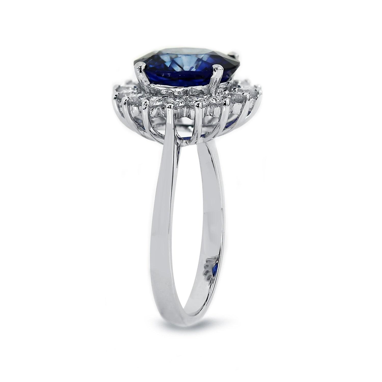 Shop Auriya 18k Gold 4ct Blue Sapphire Halo Diamond Engagement