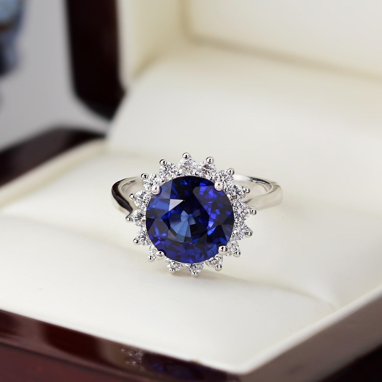 Shop Auriya 18k Gold 4ct Blue Sapphire Halo Diamond Engagement Ring 5 8ctw Overstock 23501030