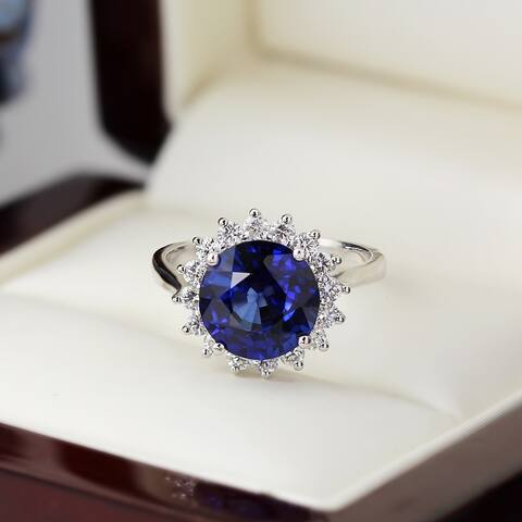 Auriya 18k Gold 4ct Blue Sapphire Halo Diamond Engagement Ring 5/8ctw