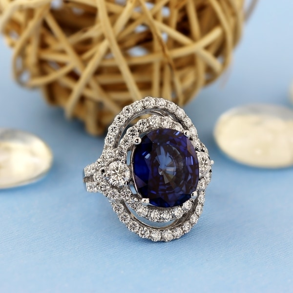 6232acd753857 Auriya Princess Diana 10ct Royal Blue Sapphire and 3ctw Halo Diamond  Engagement Ring 18k Gold