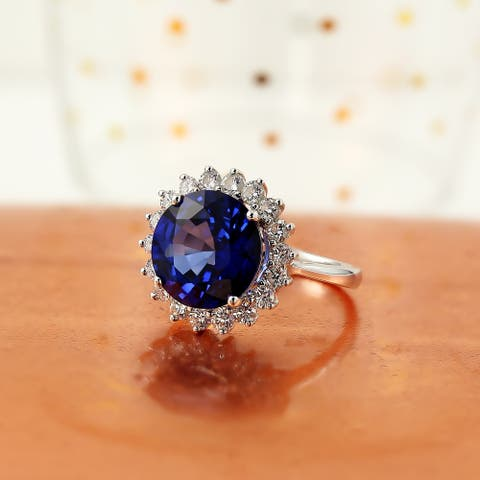 Auriya 18k Gold 7ct Royal Blue Sapphire Halo Diamond Engagement Ring 1ct TDW