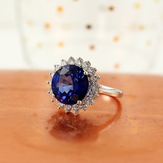 Auriya 18k Gold 7ct Royal Blue Sapphire Halo Diamond Engagement Ring 1ct TDW