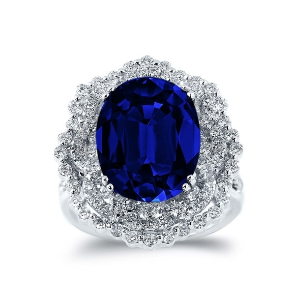 18K Gold Princess Diana Inspired 8 1/4ct Royal Blue Sapphire and 1 1/3ct TDW Halo Diamond Engagement Ring by Auriya