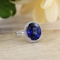 18K Gold Princess Diana Inspired 12 3/8ct Royal Blue Sapphire and 5/8ct TDW Halo Diamond Engagement Ring by Auriya